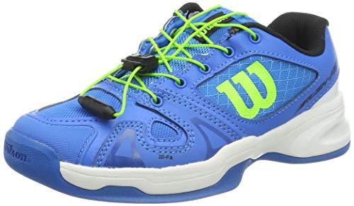 Wilson Rush PRO JR QL Carpet, Scarpe da Tennis Unisex-Bambini, Blu (Brilliant Blue/White/Green Gecko), 36.5 EU