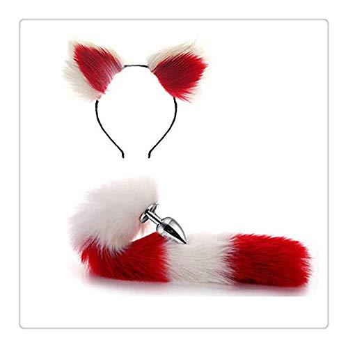 Z-one 1 Pop-Up-Spiel Pretend Headband und Fox Tail B-¨¹tt Headwear an-l Pl-uge (Wei? & Rot) (Tail Fox Kostüm)