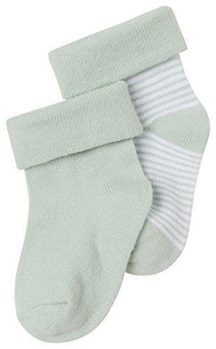 Noppies Unisex Baby Socken U Zoë stripe, 2er Pack, Gestreift, Gr. One size (Herstellergröße: 3M-6M), Grün (Grey Mint C175)