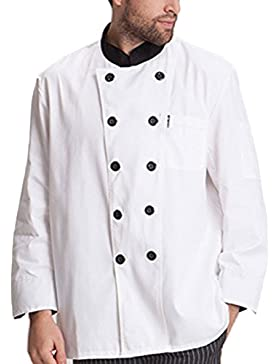 Zhhlinyuan Unisex Classic Work Clothes Long Sleeve Simplicity White Chef Uniform