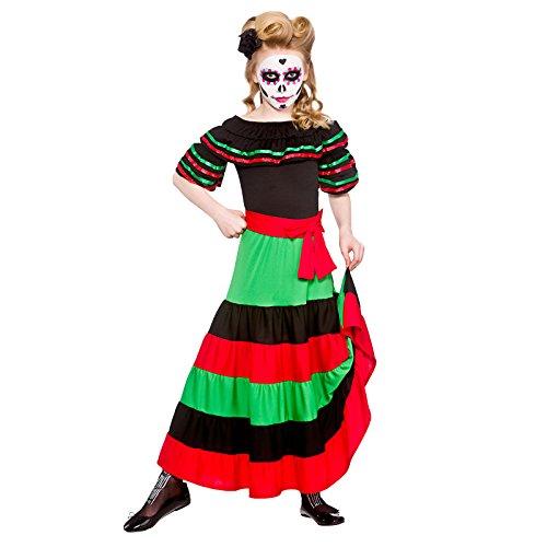 Tag der Toten Senorita Kinder Karneval / Halloweenkostüm 5 - 7 ()