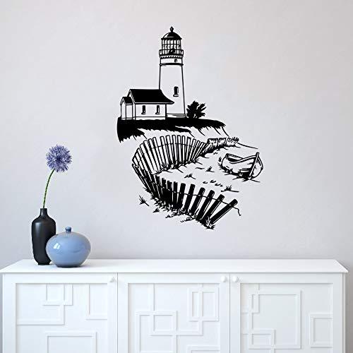jiuyaomai Leuchtturm Wandbild Seaside Beach Wall Vinyl Aufkleber Nautical Interior Home Decor Abnehmbare Badezimmer Marine Wandaufkleber Eine weiße 42x59 cm
