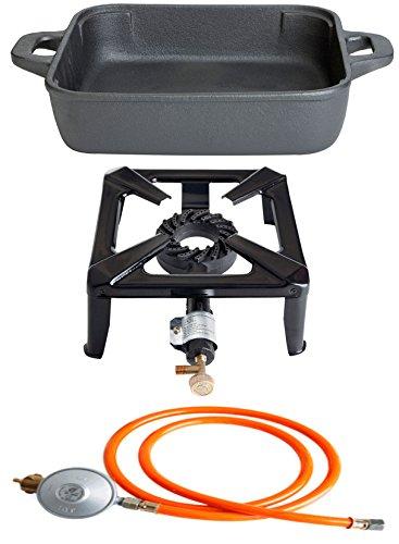 Paella World International Gaskocher Hockerkocher-Set mit Gusseisenpfanne, eckig und Gasanschluss-Set Mehrfarbig, 3-teilig