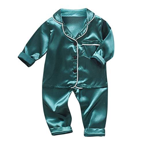 ZHANSANFM Mode Kinder Pyjama Baby Jungen Mädchen Kleidung Set Cartoon Unifarben Langarm Hemden + Hosen Schlafanzug Infant Outfit Sets Button Down Bequeme Home Kostüm Babykleidung 6-12Monat (Bequem Kostüm)