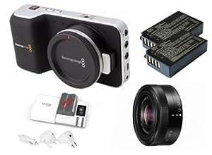 Kit Blackmagic Design Cinema Pocket Camera mit Panasonic H-FS12032, 2 Akku BPH-0318N und 1 Ladegeräte CPH-0185