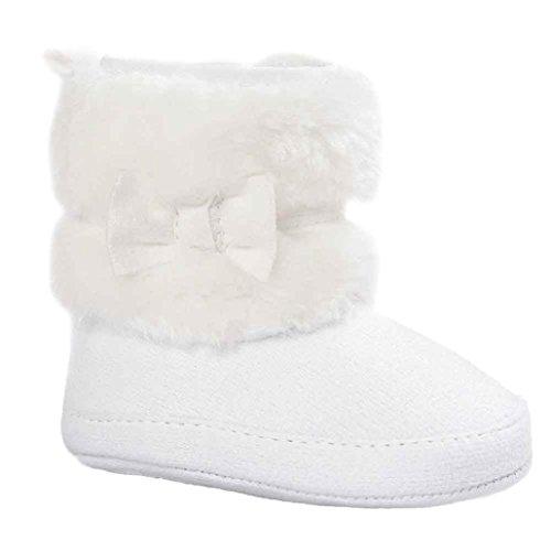 Babyschuhe,Sannysis Baby Bowknot halten warme weiche Sohle Schneeschuhe weiche Krippe Schuhe Kleinkind Stiefel 12-36Monat (11, Weiß)