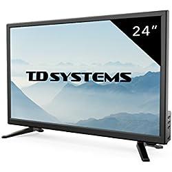 Televisores Led Full HD 24 Pulgadas TD Systems K24DLT7F. Resolución Full HD, HDMI, VGA, USB Reproductor y Grabador. Tv Led TDT HD DVB-T2