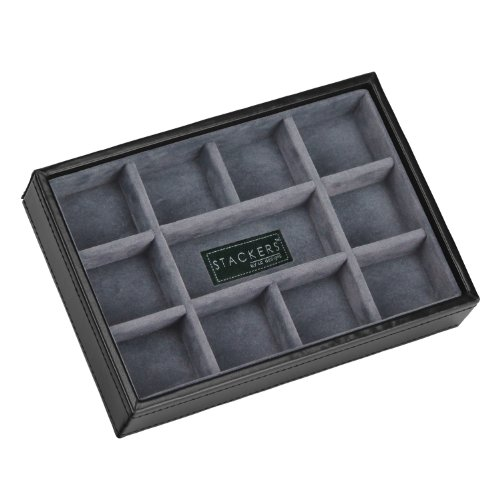 stackers-mens-executive-black-mini-cufflink-stacker-with-grey-velvet-finish-lining