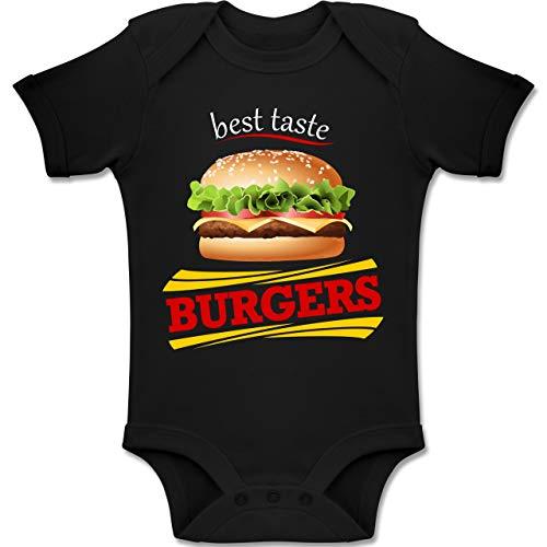Schwarze Burger Kostüm - Shirtracer Karneval und Fasching Baby - Burger Kostüm - 18-24 Monate - Schwarz - BZ10 - Baby Body Kurzarm Jungen Mädchen