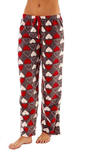 i-Smalls Frauen Snuggly Warm Fleece Pyjama Hose (44-46) Herzs Design (Weihnachts-pyjama-böden)