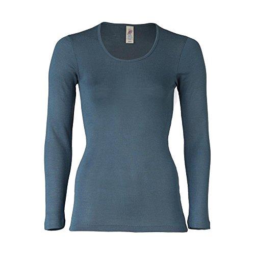 Engel Damen Unterhemd Langarm/Langarm-Shirt Bio-Wolle/Seide, Atlantik, 38/40
