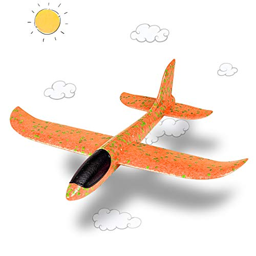Highttoy Glider Plane Large Toy for Kids, Family Fun Outdoor Toys Games for Kids 8-12 Year Old Girl Boy Teens Adults Best Foam Throwing Airplane Gift Ideas Gliders Flying Airplane Age 3-12 Toys
