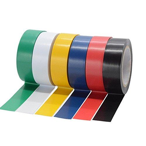 Saisn Nastro adesivo isolante in PVC colorato per cavo elettrico, confezione da 6