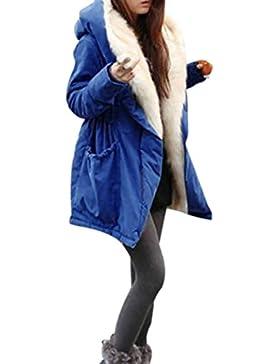 SHOBDW Mujeres de invierno cálido grueso Vellocino de piel sintética abrigo chaqueta parka encapuchado outwear