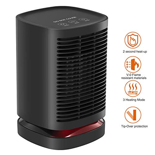 NEXGADGET 950W PTC Ceramic Space Heater, Electric Mini Personal Heater Fan with Auto Oscillation, Safety Guarantee with Over-Heat and Tilt Protection, Warm/Natural Wind for Office and Home Use