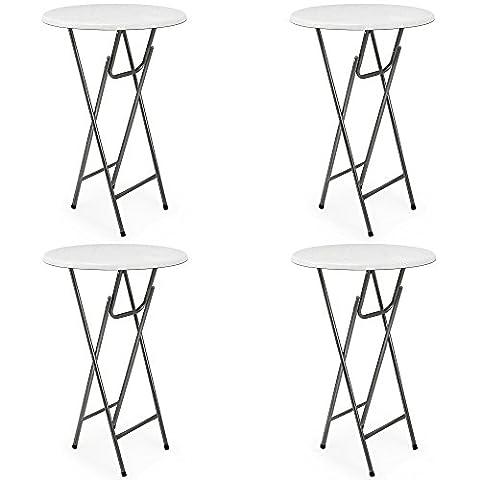 4 x Table haute pliable - Table de bar pliante en MDF blanc Aspect de bois