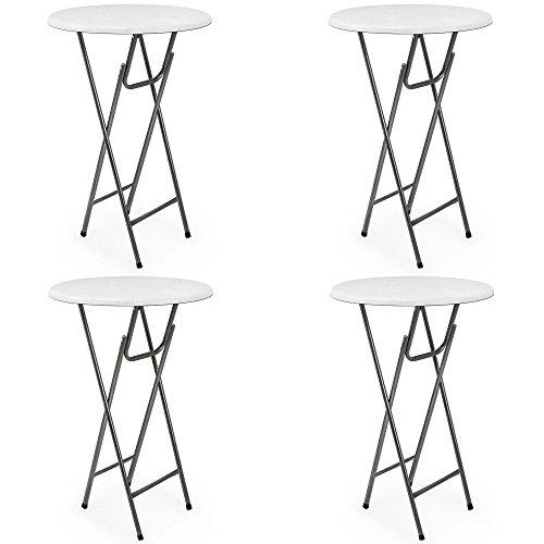 Deuba 4 x Stehtisch Tisch Gartentisch Klappbar MDF Klapptisch Bistrotisch Bartisch Weiß (4x4 Klapptisch)
