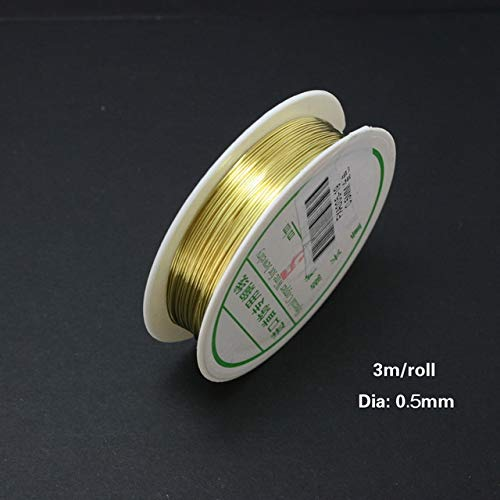 Fabrik Preis 0,3/0,4/0,5/0,6/0,8mm Kupferdraht 3 mt/los Gold/Silber Perlen Draht für DIY Schmuck FXA002-99 [0point5mm gold]