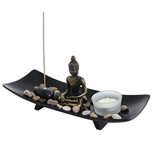 giardino zen statua di buddha con portacandela in vetro candela incenso & holder, black-mygift