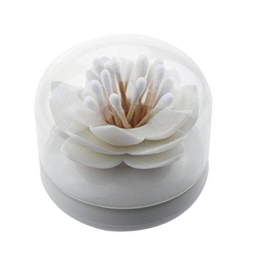 Bluelans® White Lotus Shape Cotton Swab Holder Cotton Bud Toothpicks Storage Organizer Case Box for Bathroom (White)