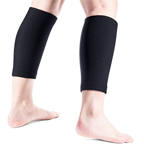 FREETOO Calf/Shin Splint Support (1 Pair) Compression Leg Sleeves for Running, Jogging, Cycling, Fitness & Exercise Enhanced Performance L