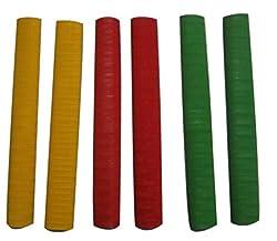 CE Rhino Regular Quality Single Colour Cricket Bat Grip-Chevron Design Single Colour - Full Size (Pack of 6)
