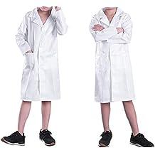 CHICTRY Bata Blanca Traje Disfraz de Doctor Enfermera Médico Infantil Cosplay Uniforme Bata de Laboratorio Abrigo