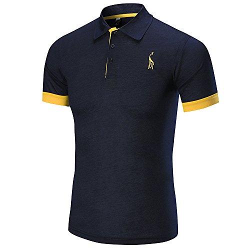Longra ★ Camiseta Hombre, Los Hombres de Negocios de Moda de Manga Corta Delgada Delgada Fawn T-Shirt Sportwear Top Blusa (Azul Marino, L)