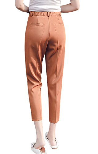 DaBag Pantalone a Sigaretta Harem Donna 7/8 Pantalone Straight Relaxed Nero Pantaloni Ragazzi Largo Baggy Pants Stretti Formale Elastico in Vita Alta Primavera Caramel