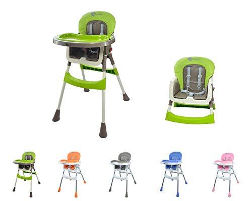 """Clamaro """"babyHIGH 2017"""" Kinder Baby Hochstuhl mit Sicherheitsgurt und 2in1 Tablett, Babyhochstuhl klappbar, gepolstert, mit abwischbaren Sitzpostern und mit rutschfesten Standfüßen, blau/weiß"""