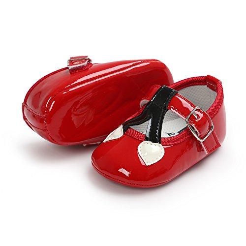 Confortevole Scarpine per Bimba Morbido e Non Scivoloso Scarpine Neonata di Pelle con Carino Modello di Cuori per le Neonate di 0-18 Mesi (Bianco, S) Rosso