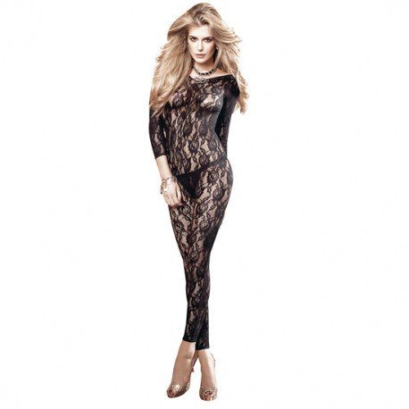 Baci Women's After Dark Long Sleve All Over Lace Body Stocking, Black, One Size (Footless Bodystocking)