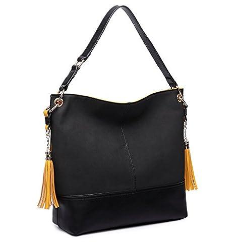 Miss Lulu Women Shoulder Bag Frosted Leather Slouch Hobo Tassel Handbag (Black)