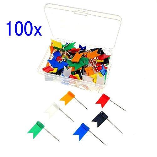 JZK 100 Piezas chinchetas bandera caja mapa tablón
