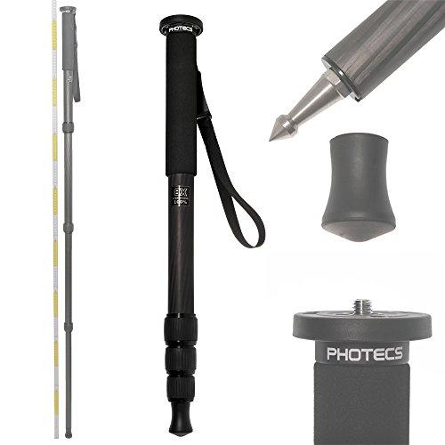 Photecs® Carbon Einbeinstativ MP-4165 Kohlefaser Monopod, ultraleicht und äußerst stabil (55-165cm, 556g, Traglast mind. 14kg)