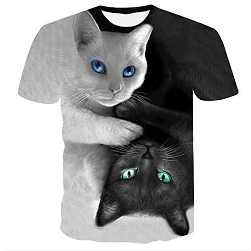 Sommert-shirtMännersommer-beiläufige Tarnungs-Druck-mit Kapuze ärmelloses T-Shirt Spitzenweste,Schwarzweiss-Katzenschwarzes 5XL 6-tier-system Bin