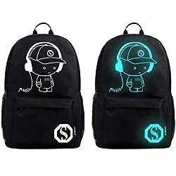 QUICKLYLY Mochilas Escolares Juveniles Backpack Mochila Cargador USB Portátil Adolescente Escolar Luminoso Antirrobo escolar para niños