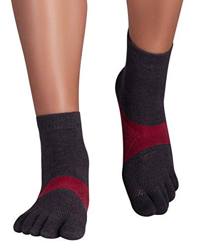 Knitido Running TS | Basic Lauf-Zehensocken Ohne ABS, Größe:43-46, Farbe:Grau/Karminrot