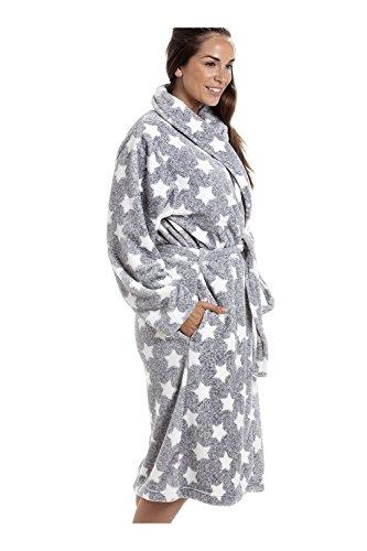 Superweicher Bademantel mit Schalkragen - Velours-Fleece - Grau mit weißem Sternmuster Grau
