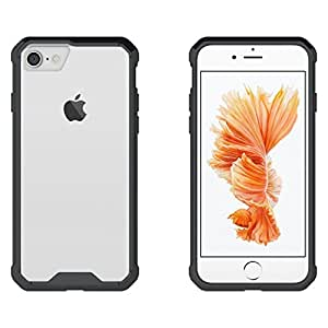 Swan Hybrid Air Case Soft Bumper and Hard Acrylic Crystal Transparent Back Cover TPU Cover Case for Apple iPhone 7 (Black) Scratch Resistant Shock Absorbing