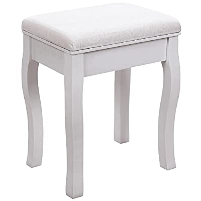 SONGMICS Vanity Stool Makeup Dressing Stool Padded Bench with Rubberwood Legs