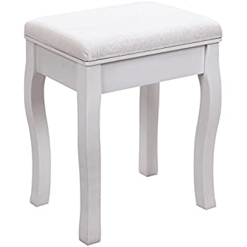 Songmics White Dressing Table Stool Cream Cushion Padded Chair RDS50W