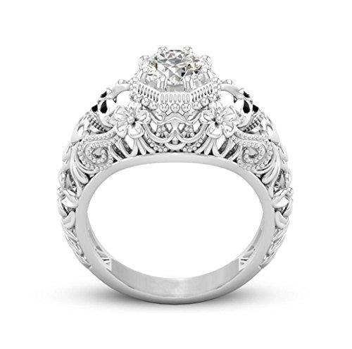 (Mingfa.y_rings Damen Mädchen Ehering Verlobungsring Ringe Mingfa 2018Skelett Kopf Diamant Ring Party Schmuck, Legierung, Silber, 7)