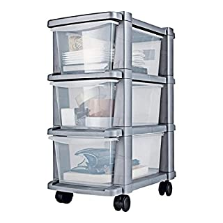 3 Drawer Slim Tower Storage Unit - Silver. Size H64.5, W25, D39cm.