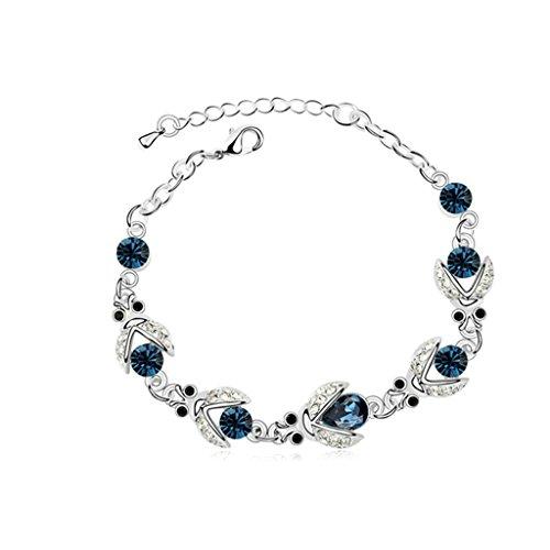 Aooaz placcato in oro bianco braccialetto per le donne, matrimonio bracciale a maglies CZ cristallo Zirconia cubica, Beatles blu