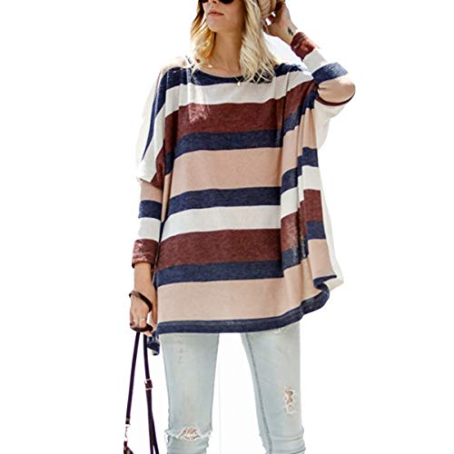 YUETUZHUANGSHI Streifenmuster Batwing Langarm-T-Shirts O-Ausschnitt Plus Size Color Block Top - Hand Block Gedruckt Baumwolle Rock