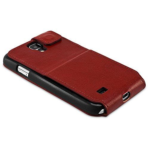 """PLM """"Anamur"""" Python Braun Apple iPhone 5S, iPhone 5 Flip Case Ledertasche Hülle Tasche Cover - Mit 2-stufiger Aufstellfunktion rot"""