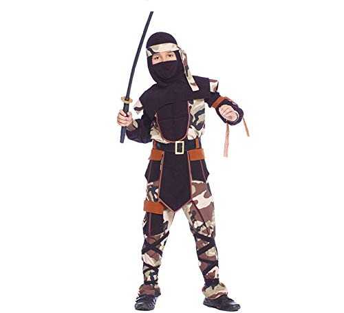 Kostüm Camouflage Ninja Sazuke Tarnanzug Camouflage Kinderfasching Krieger (7-9 Jahre (Gr. 122-134))