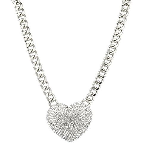Lux accessori, grande, con cristalli, a forma di cuore Collana Gioiello Iced Out.