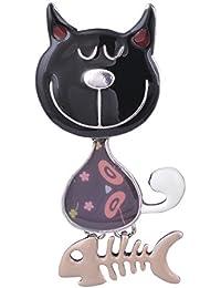 Diseño único esmalte encantador del gato y pescado Animal broche señoras broches pins para Girsl y regalos de Navidad para niños